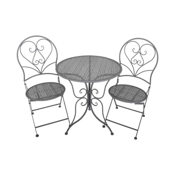 SET METAL GARDEN TABLE WITH 2 CHAIRS
